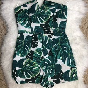 Topshop Green Palm Leaves Romper Size 4